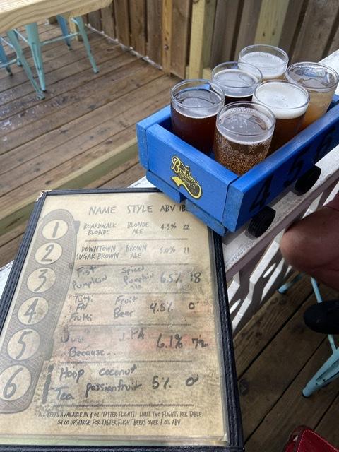 Top beach pick Backshore beer flight. Eatbaketravel.com